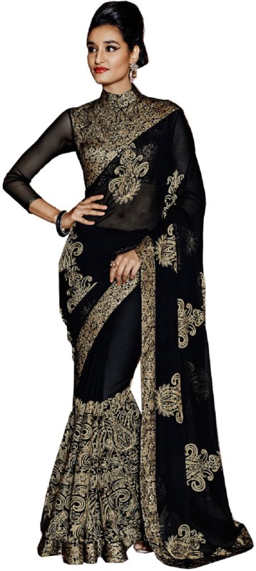 Rola Trendz Embroidered, Self Design Daily Wear Georgette Saree(Black)
