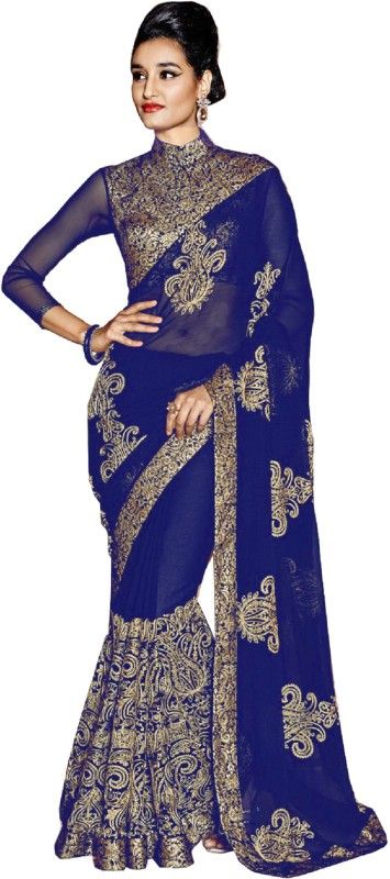 Rola Trendz Embroidered, Self Design Fashion Georgette Saree(Dark Blue)