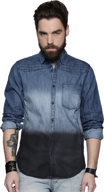 Roadster Men Solid Casual Blue, Black Shirt