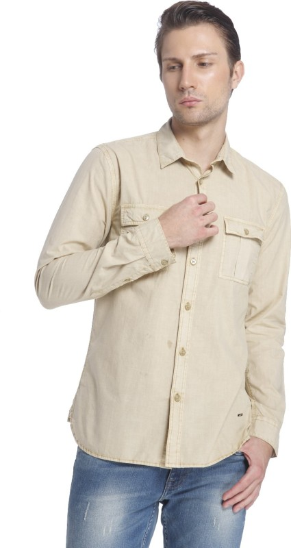 Jack & Jones Men Solid Casual Beige Shirt