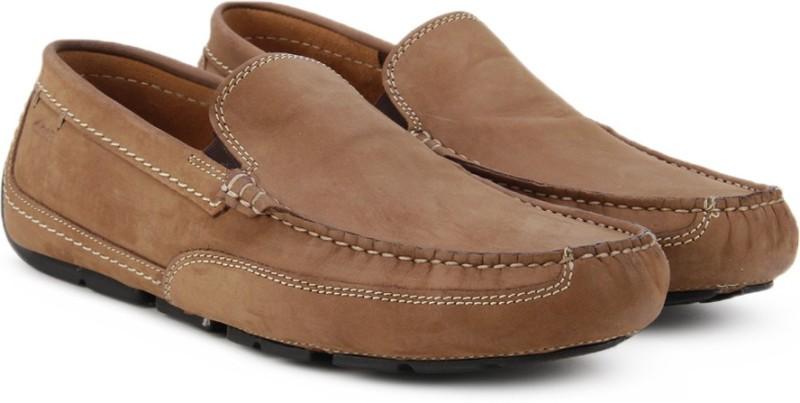 Clarks Ashmont Step Tan Nubuck Loafers For Men(Tan)