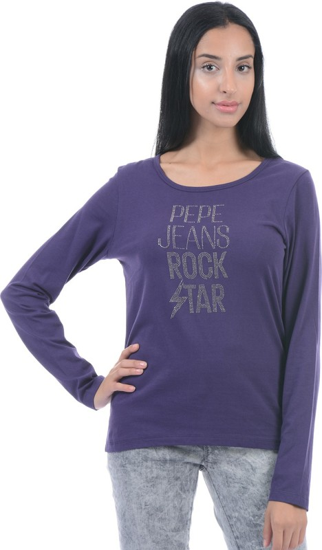 Pepe Jeans Solid Women Round Neck Purple T-Shirt