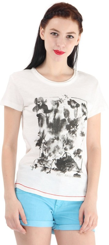 Pepe Jeans Floral Print Women Round Neck White T-Shirt