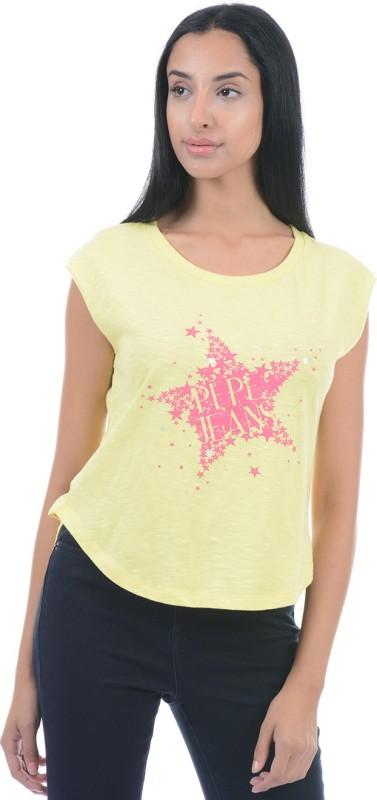 Pepe Jeans Printed Women Round Neck Yellow T-Shirt
