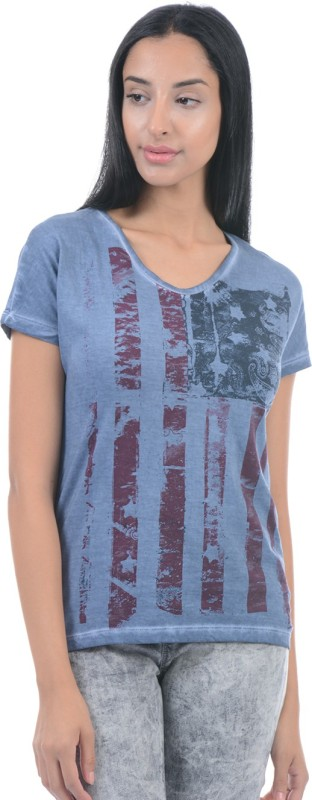 Pepe Jeans Printed Women Round Neck Blue T-Shirt