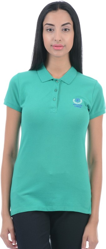 Pepe Jeans Solid Women Polo Neck Green T-Shirt