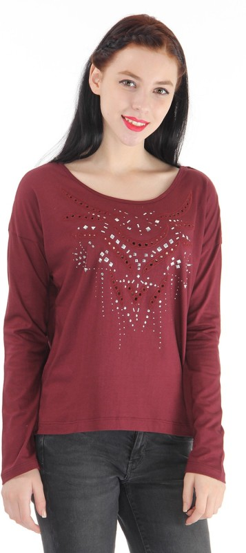 Pepe Jeans Embellished Women Round Neck Red T-Shirt