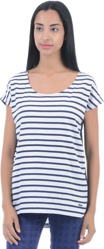 Pepe Jeans Striped Women Round Neck White, Blue T-Shirt