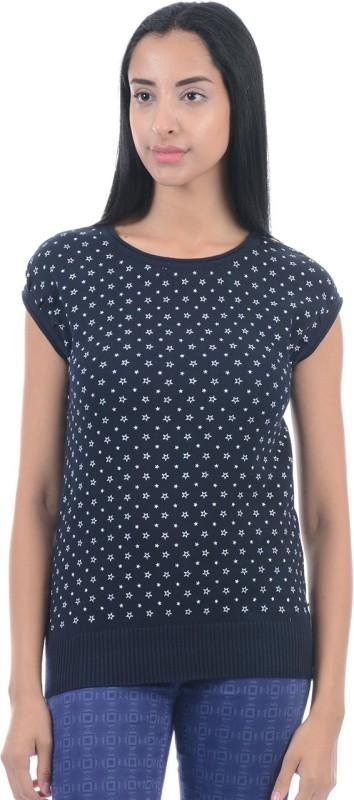 Pepe Jeans Printed Women Round Neck Dark Blue T-Shirt