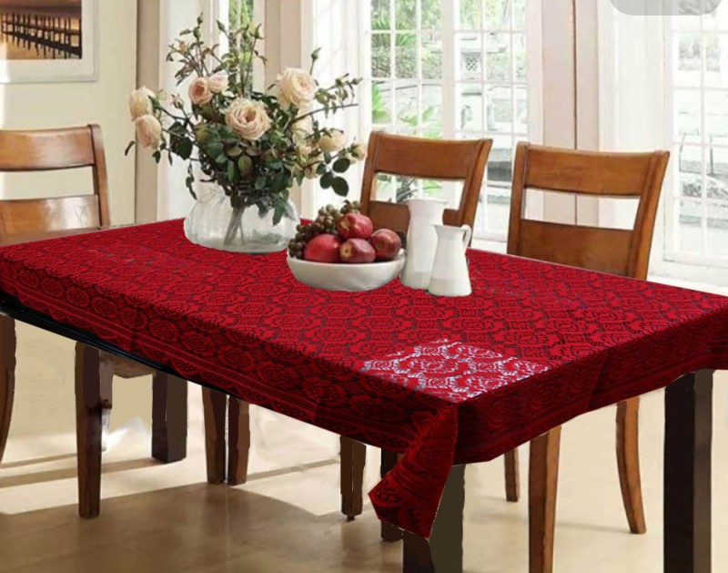 Kuber Industries Printed 6 Seater Table Cover(Maroon, Cotton)