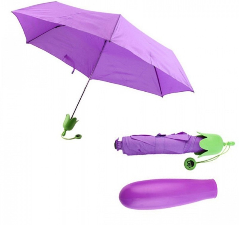 VibeX Lovely Fruits Vegetables Carrot Eggplant Folding Plastic Umbrella(Purple)