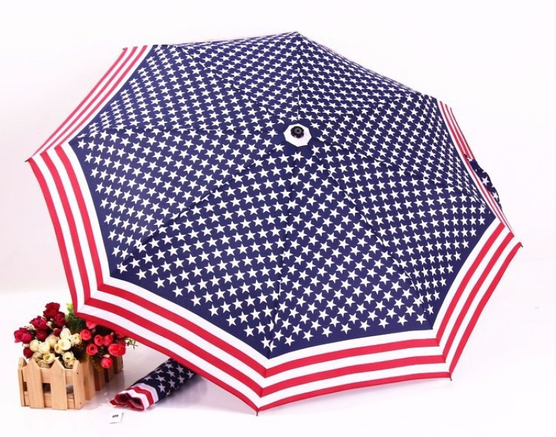 VibeX American Flag with Cute Airplane Case - Anti-uv UPF50+ Sunproof Lightweight Compact Travel s Umbrella(Multicolor)