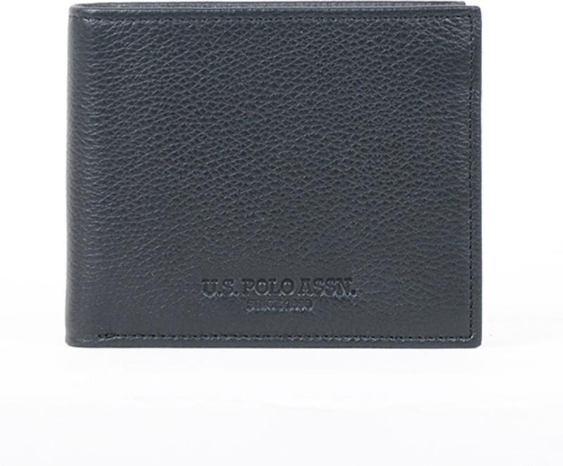 U.S. Polo Assn. Men Black Artificial Leather Wallet(10 Card Slots)