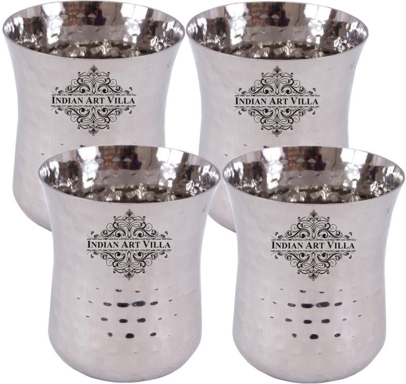 IndianArtVilla Glass Set(1400 ml, Silver, Pack of 4)