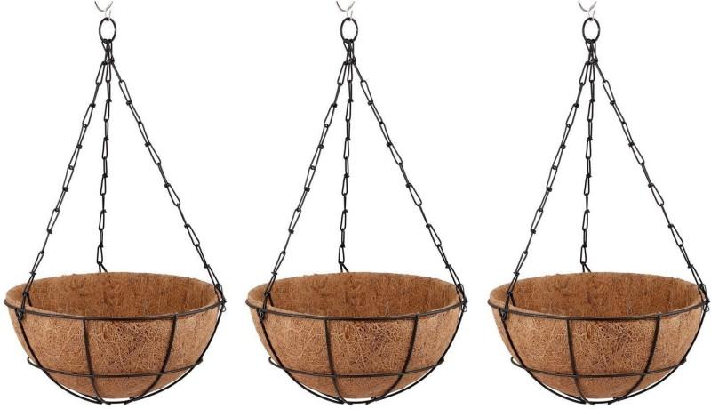 Minerva Naturals Coir hanging pot black color set of 3 Plant Container Set(Pack of 3, Metal, Wood)