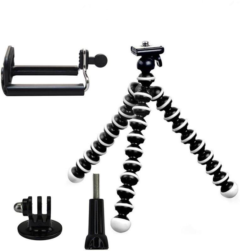 Taslar Gorilla Flexible with Mount & Long screw Tripod Kit(Black, White, Supports Up to 1200 g)