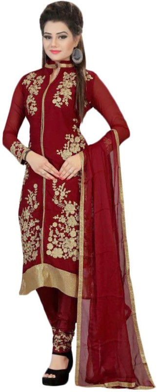 Fabland Georgette Embroidered Semi-stitched Salwar Suit Dupatta Material