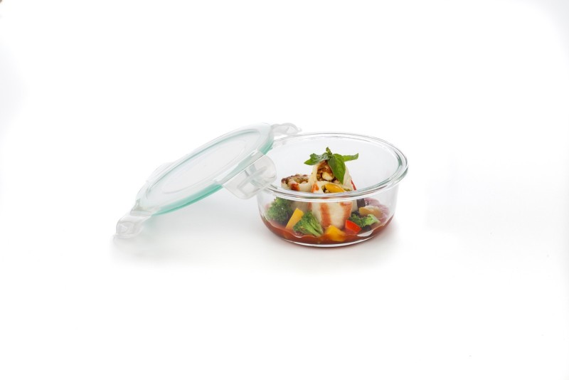 Signoraware Lock N Store Glass Round 1 Containers Lunch Box(390 ml)