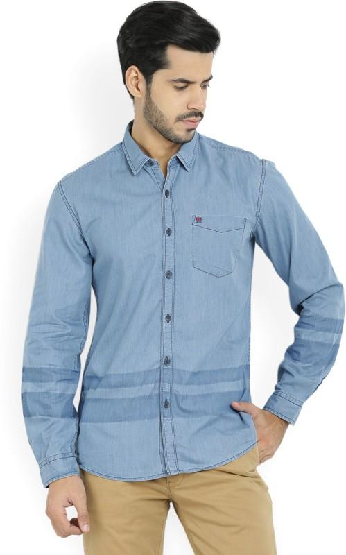 Wrangler Mens Solid Casual Blue Shirt