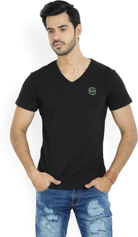 Wrangler Solid Mens V-neck Black T-Shirt