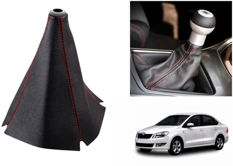 Speedwav Leatherette Cover for Skoda Rapid Car Gear Lever(Black)