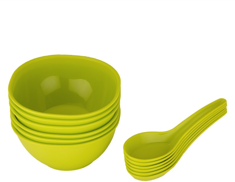 Jaypee Le Dinner Set Soup Bowl Plain, Green Pack of 12 Dinner Set(Polypropylene)