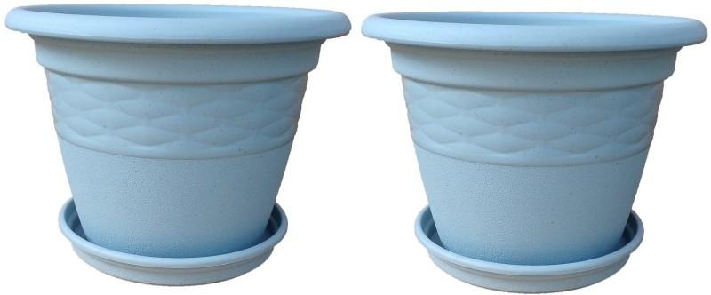 Minerva Naturals Decor plastic pot 10 inch mat finish ash color with...
