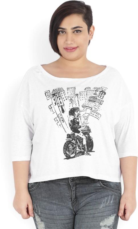 Wrangler Printed Womens Round Neck Grey T-Shirt