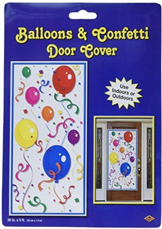 Beistle 50108 Balloons And Confetti Door Cover, 30-Inch5-Feet