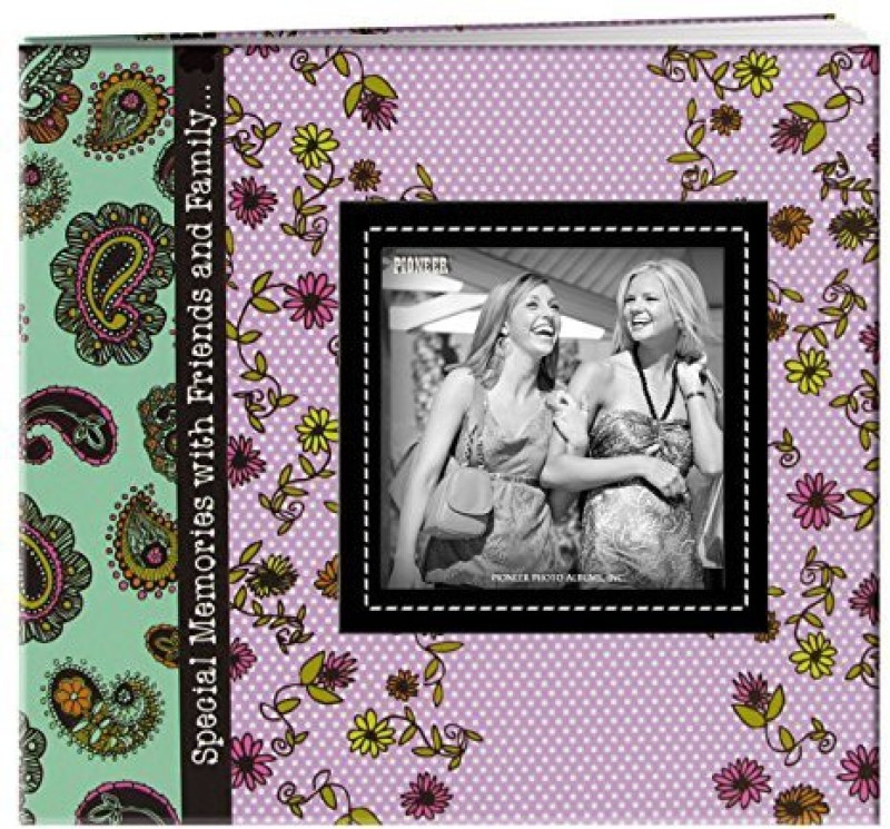 Pioneer Photo Albums 20 Page Designer Printed Raised Frame Paisley Cover Scrapbook For 8 By 8 Inch Pages