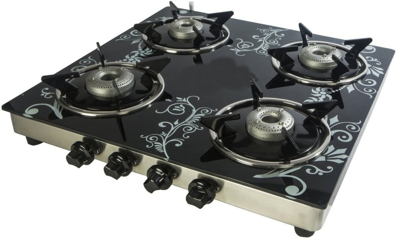 Suryajwala Toughned Glass Top Stainless Steel Manual Gas Stove(4 Burners)