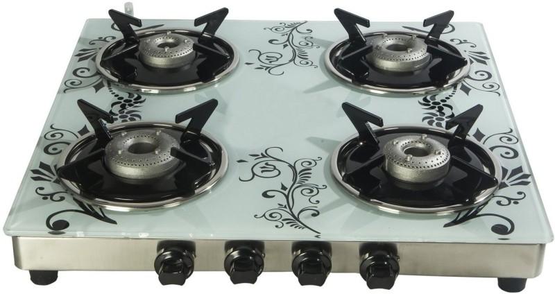 Suryajwala Toughned Glass Top Stainless Steel Manual Gas Stove(4 Burners)