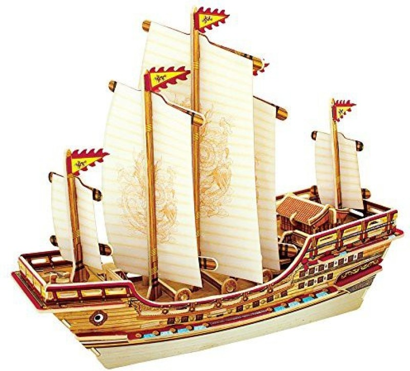 Robotime 3D Wooden Jigsaw Puzzle Diy Woodcraft Model Educational Toys Ancient Ship Zheng He Ba401S(66 Pieces)