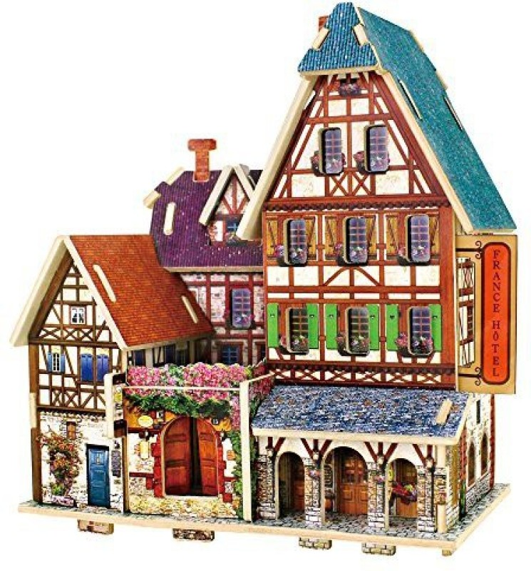 Robotime 3D Wooden Jigsaw Puzzle Diy House Building Kit Handmade Educational Toy Craft Kit For Children (France Hotel)F 27(1 Pieces)