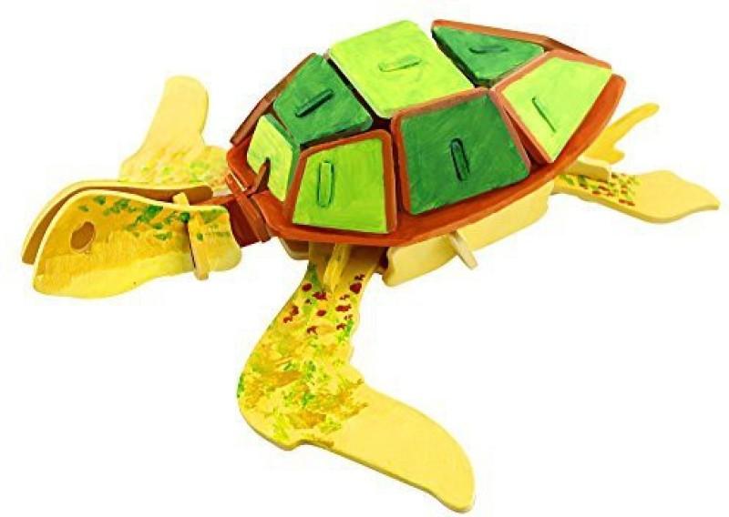 Robotime 3D Jigsaw Puzzle Diy Wood Painting Puzzle Educational Toys Model Sea Turtle Craft Kit For Children Jp295B(36 Pieces)