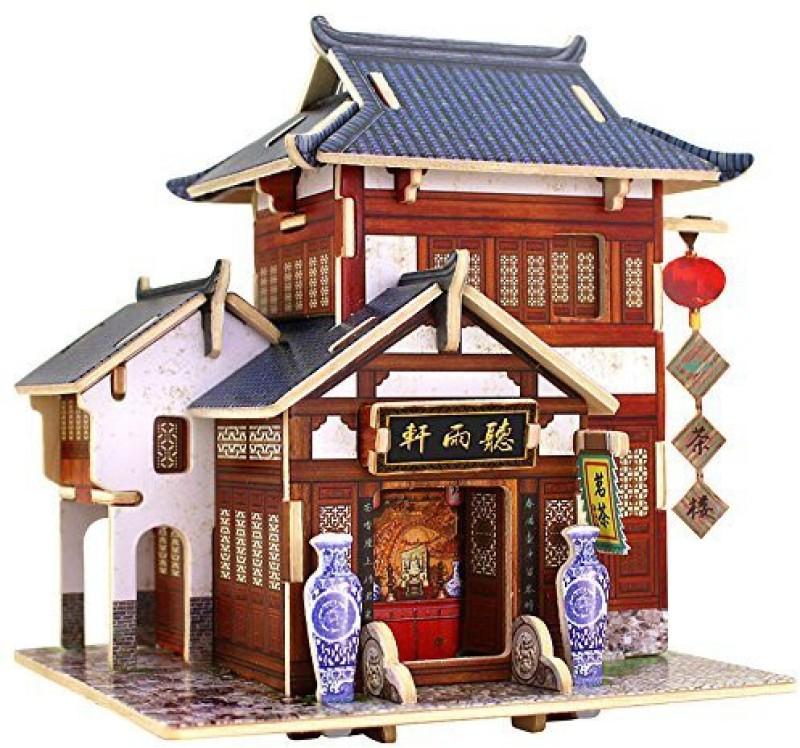 Robotime 3D Wooden House Diy Jigsaw Puzzle Woodcraft Diy Model Miniature Dollhouse Handmade Toys (China Tea House) F 3(1 Pieces)