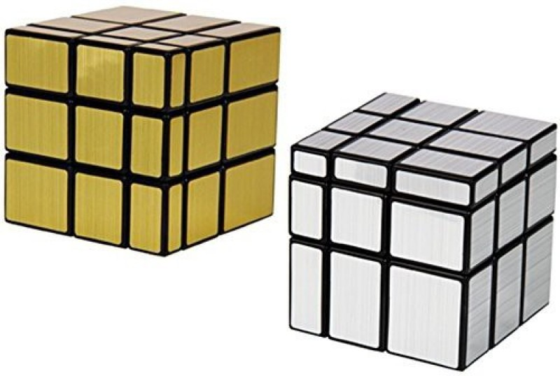 Goodplay Professional Shengshou 3X3X3 Mirror Golden & Silver Speed Cube Puzzle(+ One Customized Cube Bag)(2 Pieces)