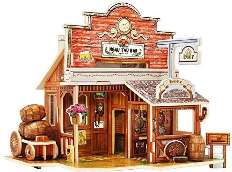 Robotime 3D Wooden Jigsaw Puzzle Dollhouse Miniatures Diy Wooden Craft Kits Toy House For Children (American Bar)(1 Pieces)