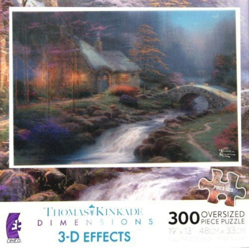 3 D Effects Thomas Kinkade Dimensions Twilight Cottage Oversized Puzzle(300 Pieces)