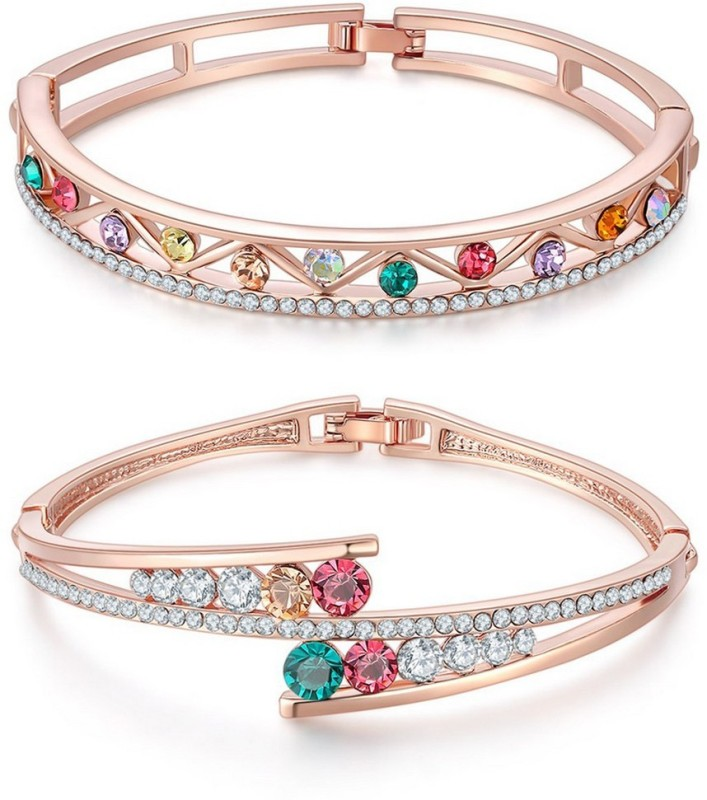 Jewels Galaxy Copper Cubic Zirconia Rose Gold Charm Bracelet(Pack of 2)