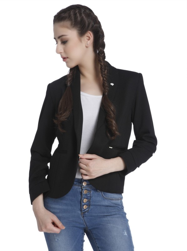 Only Solid Tuxedo Style Casual Women Blazer(Black)