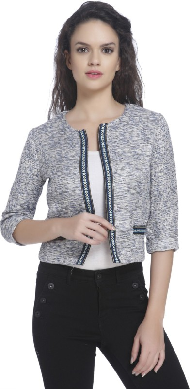 Only Self Design Single Breasted Casual Women Blazer(Light Blue)