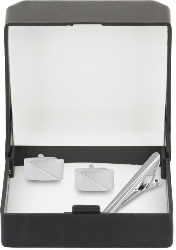Paranoid Brass Cufflink & Tie Pin Set(Silver)