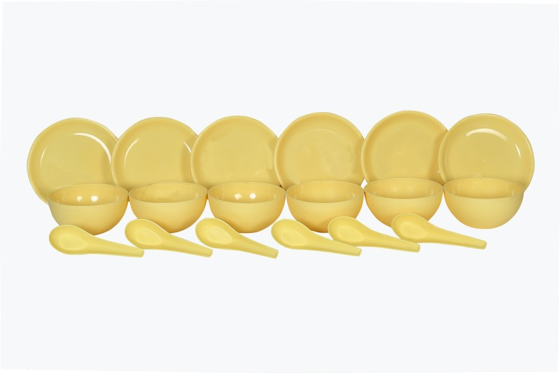 Sugam Soupset18pcs-Yellow Plastic Bowl Set Pack of 18 Dinner Set(Plastic)