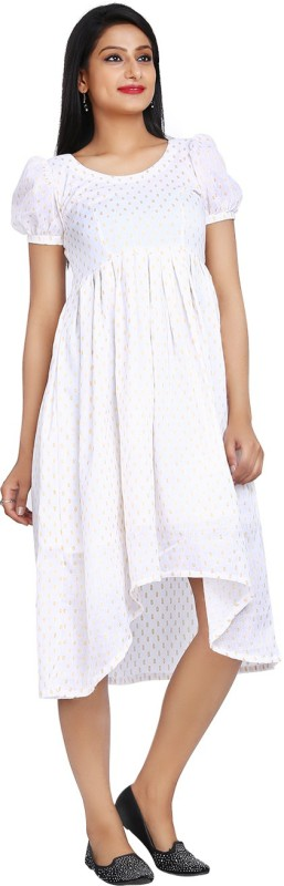 10 STAR Womens Fit and Flare White Dress