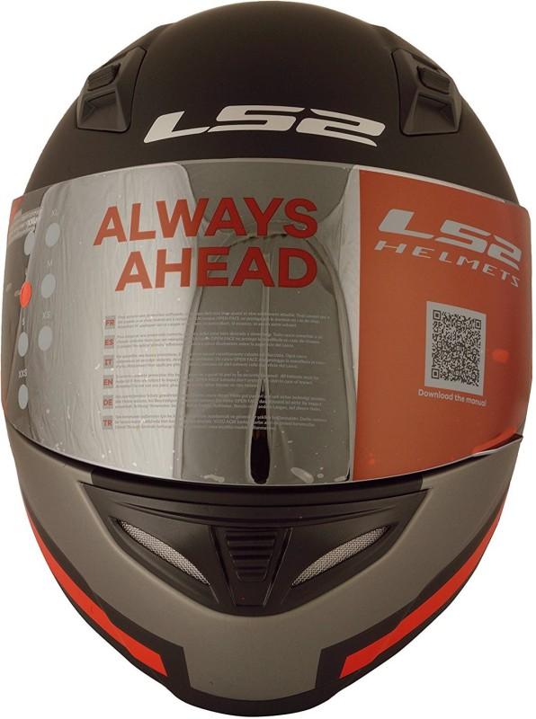 LS2 Piston Black Red Motorbike Helmet(Black)