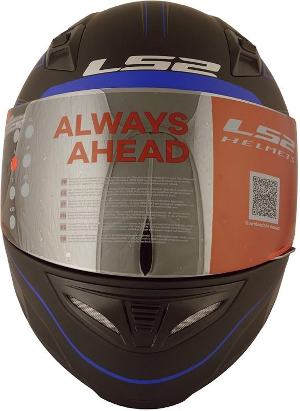LS2 Roller Black Blue Motorbike Helmet(Black)
