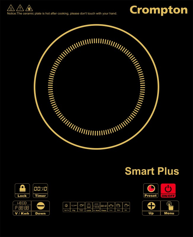 Crompton ACGIC Smart Plus Induction Cooktop(Black, Push Button)