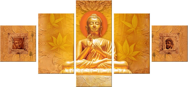 SAF BUDDHA LARGE 5PANEL Ink Painting(24 inch x 50 inch)