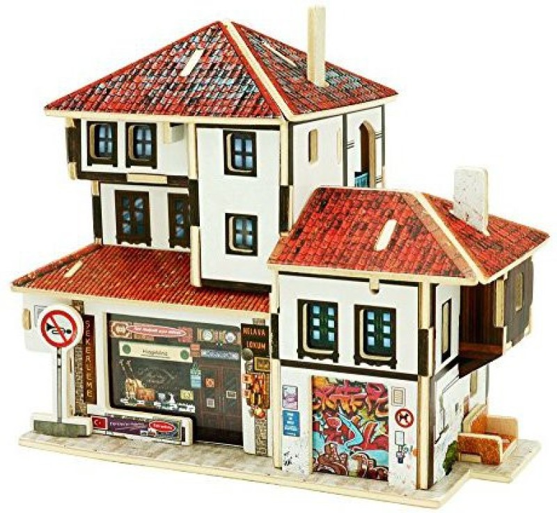 Robotime Diy Wooden House Building Kits 3D Jigsaw Puzzles For Adults And Kids Educational Toy (Turkey Souvenir Store) F 43(1 Pieces)